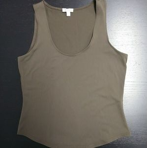 Worth Scoop Neck Fitted Tank Brown Petite Small